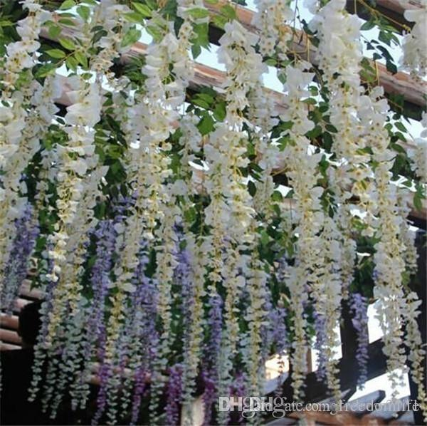 Free Wisteria Wedding Ideas Elegant Artifical Silk Flower Wisteria Vine Wedding Decorations 3forks per piece more quantity more beautiful