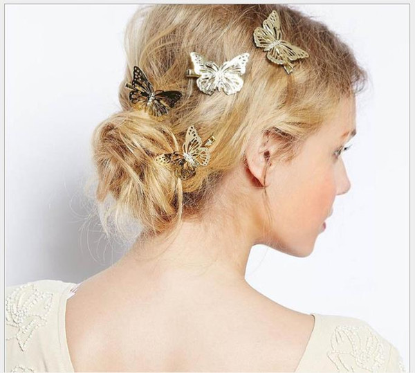 Vintage butterfly metal left and right hairpin side clip headwear Korean female stereo hollow hair accessories
