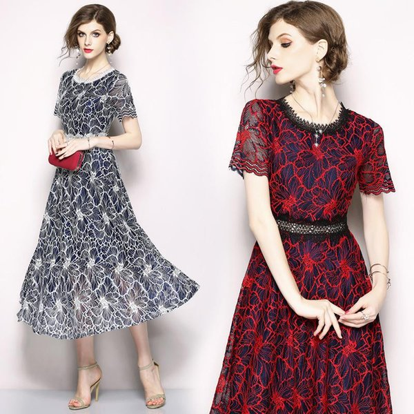 Long Prom Dresses Women Summer Short Sleeve Lace Dresses Fashion Vintage Casual Red A Line Dress