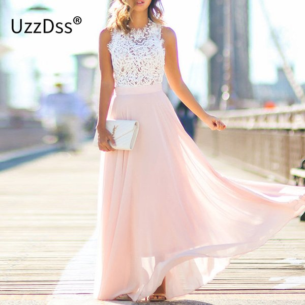 UZZDSS Nueva llegada 2019 Sring Evening Party Hollow Out Beach Dress Mujeres Boho sin mangas Maxi Dress Vestidos de fiesta Dropshipping