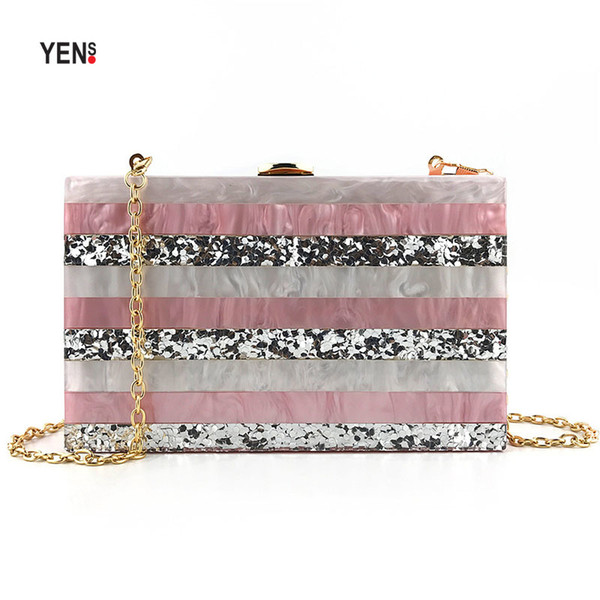 Acrylic Pink Women Messenger Bag Dinner Party Bags Novel Trend Striped Acrylic Clutch Bag Luxury Woman evening Bag Beautiful Messenge Bags