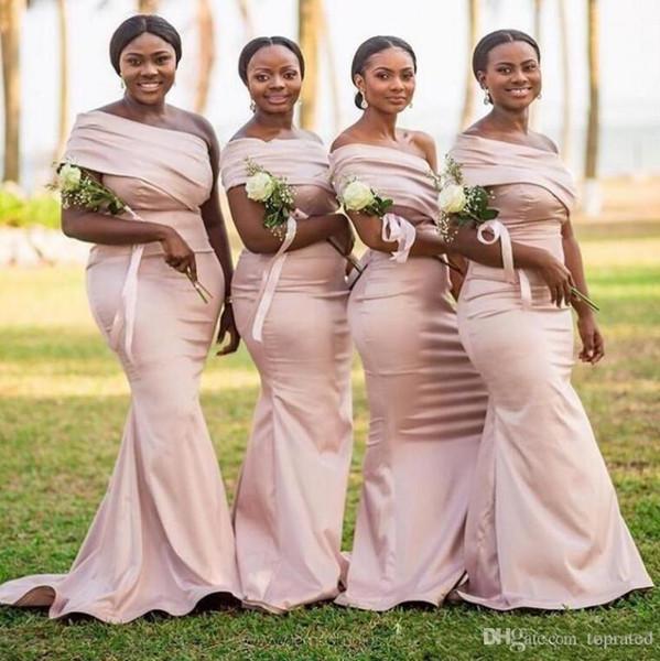 Vintage Africano Meninas Negras Sexy Um Ombro Sereia Vestidos de Dama de Honra 2019 Luz Rosa Cetim Formal Longo Partido Prom Vestidos Baratos