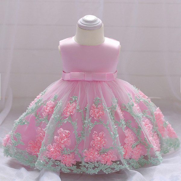 Baby Girl Dress 2018 Baptism Princess Dress Wedding Dress For Girls 1 Years First Birthday Girl Party Clothes Bows 6 12 18 Month Y19050801