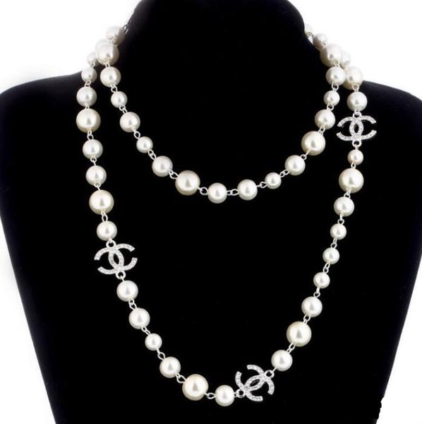 pearl natural pearls white beads necklace for women Long Sweater Chain Colar Jewelry