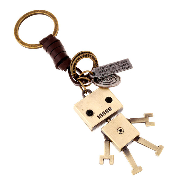 Pure hand-woven leather key chain movable alloy robot creative leather key chain wholesale backpack pendant Car Bag AccessYSK027