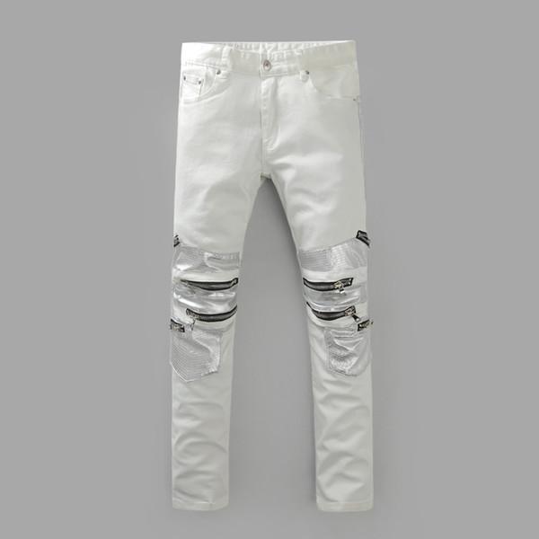 2016 erkeklerinkinin yeni fonun Saf beyaz kot erkekler lüks kaliteli fermuar tasarımcı rağbet kişinin ahlak pantolon yetiştirmek