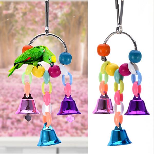 Красочные бусы Bells Parrot игрушки Подвеска Подвесной мост цепи Pet птица попугай Chew Качели Игрушки Bird Cage Главная инструменты украшения