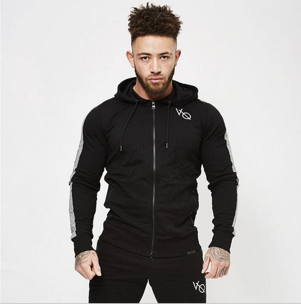 2019 gym New Fashion Autumn and Winter European and American New Sports Fitness Men's Sanitary Wardrobe Cover and Hat Coat gym Sweater