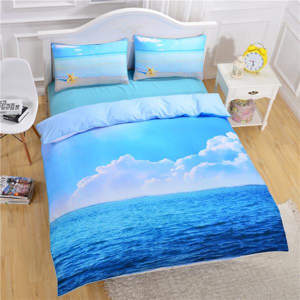 Sea Starfish Комплект постельного белья 3D Blue Ocean Print Пододеяльник Наволочки Полиэстер Постельное белье Twin Queen King Size Дети Домашний текстиль Dropshipping