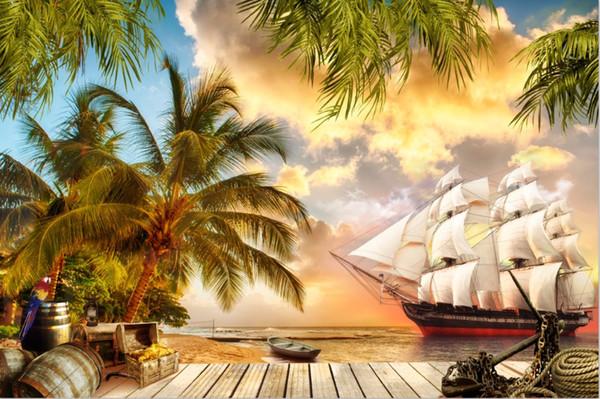7x5FT Palme Sandstrand Deck Seepiraten Schiff Segel Benutzerdefinierte Fotostudio Hintergrund Vinyl 220 cm x 150 cm