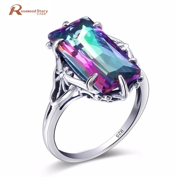 charm female ring multicolor rainbow fire mystic z ring 925 sterling silver vintage wedding rings for women fashion jewelry