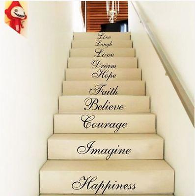 Neue Kreative Live Hope Lachen Treppe Wand Zitat Wörter Aufkleber Aufkleber Vinyl Kunst Wohnkultur Positive Brief Wandaufkleber