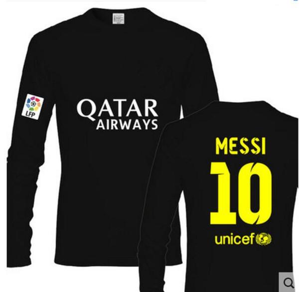 Большой размер S-3XL реальный мадрид Футбольная рубашка повседневная хлопковая футболка с длинным рукавом Вентиляторы футболки Мужчины-женщины Роналду Месси Погба SUAREZ Футбол Джерси