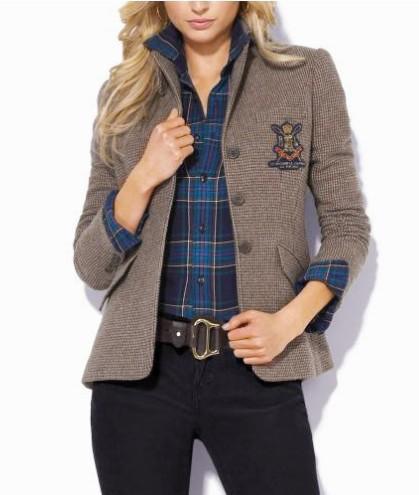 Online 2019 Ladies Casual Polo Chaquetas EE. UU. Moda de invierno Un solo pecho Mujer Chaqueta clásica Chaqueta de algodón Escudo de ocio de niña Marrón