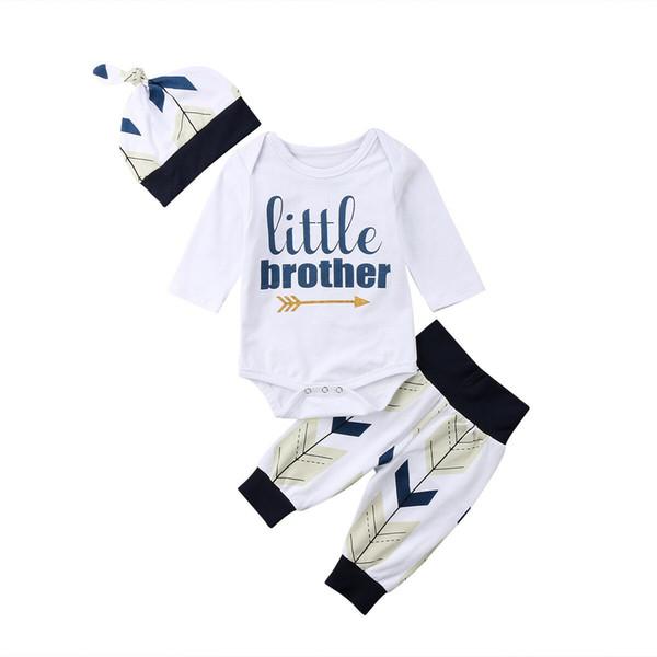 2019 Newborn Baby Boys Clothes Cotton Romper+Leggings Pants+Hat Outfits 3pcs Set