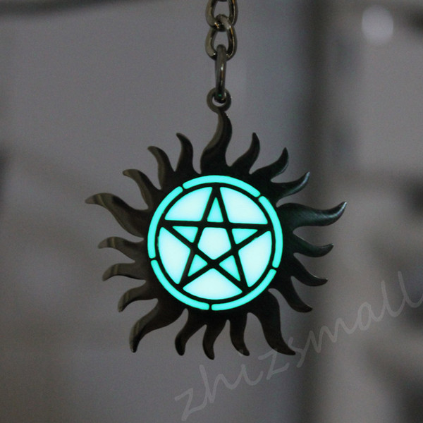 Supernatural Pentagram Keychain The Lesser Key Of Solomon Keychain Dean Sam  Key Ring GLOW In The DARK Pendants GIFT Keychain Key Fob From