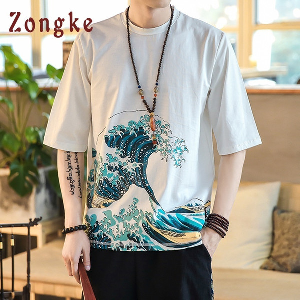 Zongke Japan Style Wave Print T Shirt Men Fashions Harajuku Streetwear Funny Tshirt Men T Shirt Hip Hop T-shirt Men Summer 2019 Y19072201
