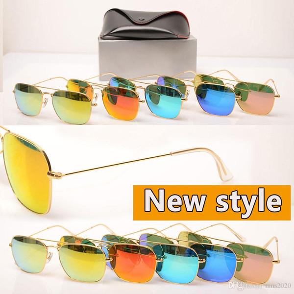 10PCS Factory price sunglasses glass lens sun glasses Color lens Mirror sunglasses pilot womens glasses fashion mens design sun glasses Club