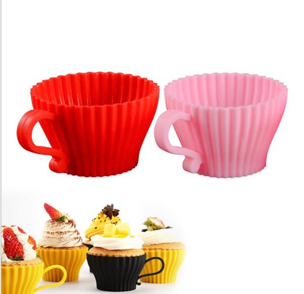 Nouv ronde moule gâteau en silicone avec poignée Muffin au chocolat en silicone moule de petit gâteau Liner de cuisson Moule Coquetier Tart Cup
