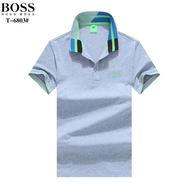 New cotton short-sleeved boy lapel polo shirt chest letter embroidery short sleeve 2019 brand design size M-2XL