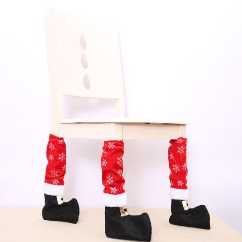 Fée XMAS 4PCS Dîner de Noël Elf Table Chaise Pieds Décoration Couvre jambe cas présent Bas de Noël