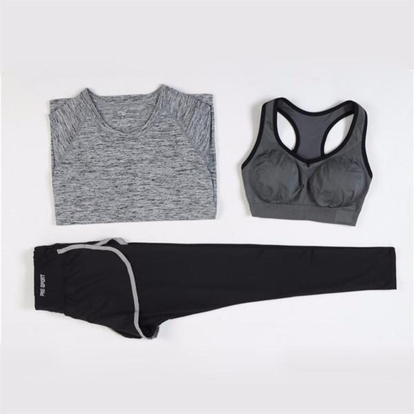 ROSAKINI 3 Pièces Femmes Fitness Yoga Set T-Shirt Soutien-Gorge Pantalon Court Sport Set Gym Vêtements Sport wear Training Suit # 624924