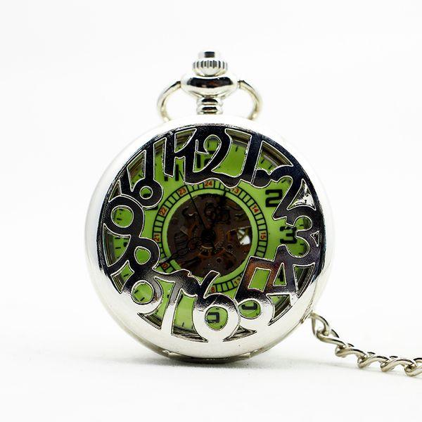 New Arabic Number Hollow Skeleton Vintage Silver Green Dial Mechanical Pocket Watch Stainless Steel For Men Women PJX1105