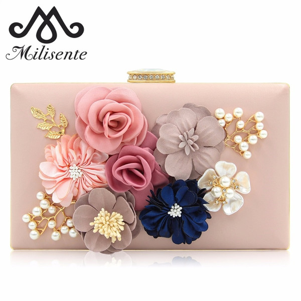 Milisente Clutches Bag for Women Flower Clutch Bride Wedding Bags with Rhinestone Pearl Shoulder Chain Pink #33308