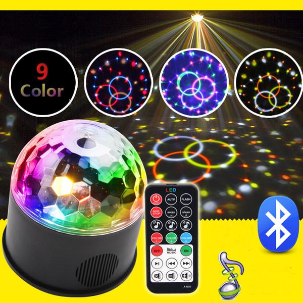 Remote RGB LED Crystal Magic Ball Stage Light Rotation Speaker Colorful KTV DJ Disco Gift Bluetooth Music Control Lights USB MP3 LED Effects