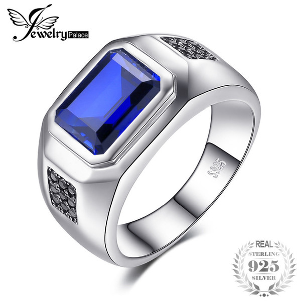 Jewelrypalace Ring Silber Sterling 925 Herren 4.3ct Erstellt Blue Sapphire Natural Black Spinell Ehering Genuine Silver Gifts J190611