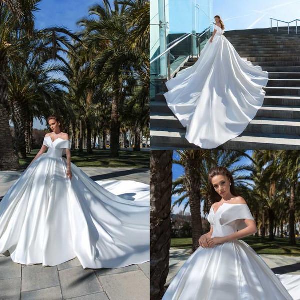 Luxo de cristal de design vestido de baile vestidos de casamento 2020 fora do ombro babados vestido de noiva com saia anágua trem da praia vestidos de noiva