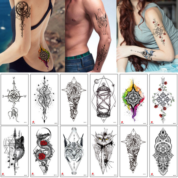 Temporary Tattoo Cool Cat Geometry Arrow Tiger Wolf Compass Chest