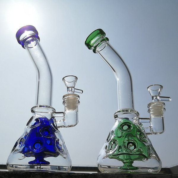 Beaker Fab Egg Glass Bongs Green Blue Dab Rigs Recycler Oil Rig Swiss Perc Water Pipes Showerhead Perc Bong With Bowl MFE09
