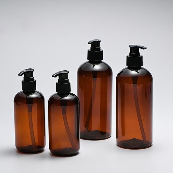 Precio de fábrica 250 ml 8 oz PET plástico botella de champú de ámbar gel de ducha desinfectante para manos líquido de lavado de manos loción cosmética bomba botella