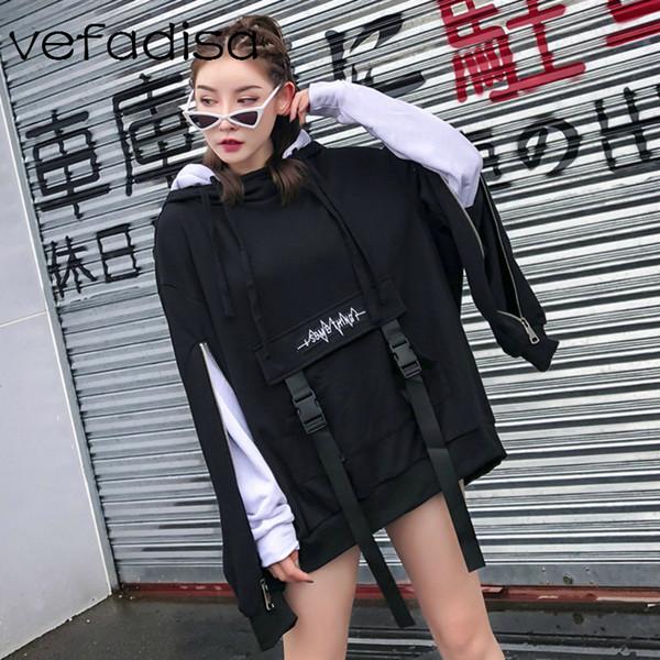 Vefadisa Mulheres falso de duas peças com capuz camisola de algodão 2018 Outono Mulheres Double Layer luva suéter DQ597