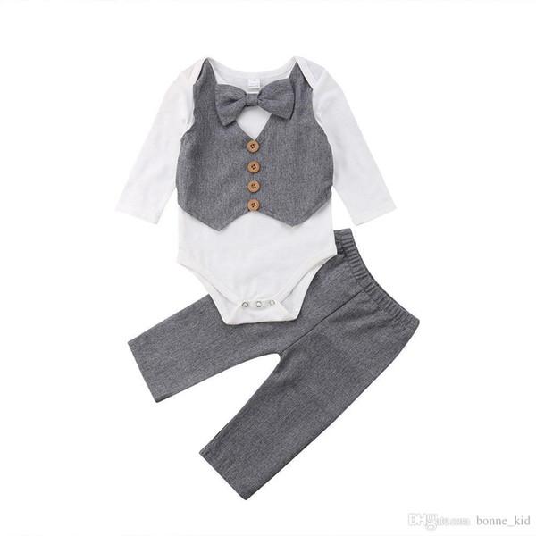Bebê recém-nascido Meninos Cavalheiro Bow Tie Romper Tops Calças 2-piece set Outfits Crianças Meninos Do Bebê Roupas de Casamento Manga Comprida Kid Conjunto de Roupas
