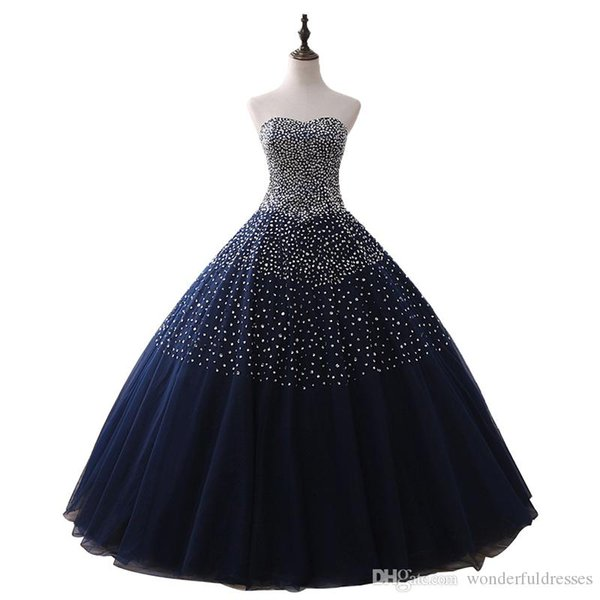 Real Images Bling Bling Ball Gown Beading Long Navy Blue Prom Dress Puffy Sweet Plus Size Quinceanera Dresses 2017 Sparkly Luxury