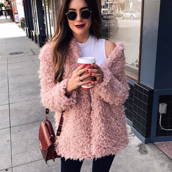 Wipalo Winter Grey Wool Overcoat Warm Outerwear Women Pink Faux Fur Coat Turn Down Collar Long Sleeve Cardigan Female Outwear T4190610
