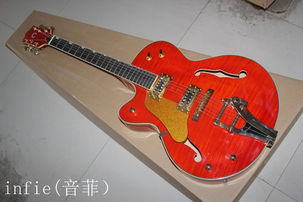 Free Shipping Top Quality Left Handed Falcon JAZZ Semi Hollow with Tremolo Red Electric Guitar In Stock