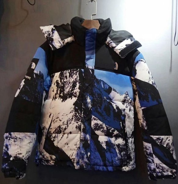 2018 New high quality men's White duck down Face jackets man's fashion printing Snow Mountain coats Hooded Thickening warm parkas