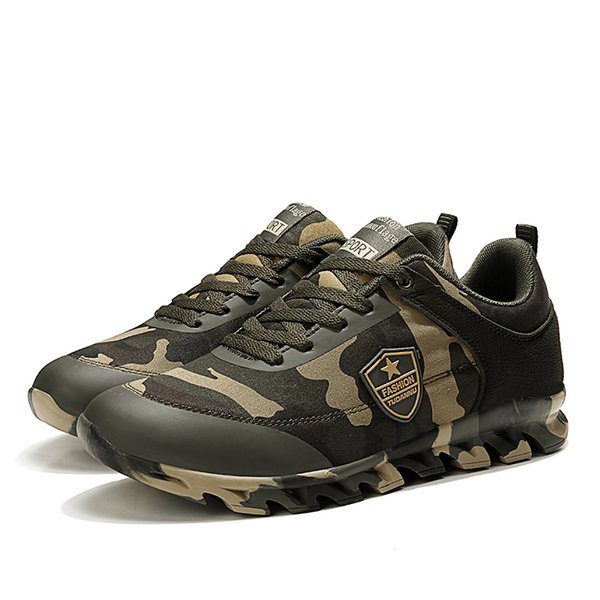 Unisex Canvas Microfiber Casual Training Sneakers Army Green Camouflage Light Weight Jogging Shoes Shock-resistant Sole Lace-up 35~44