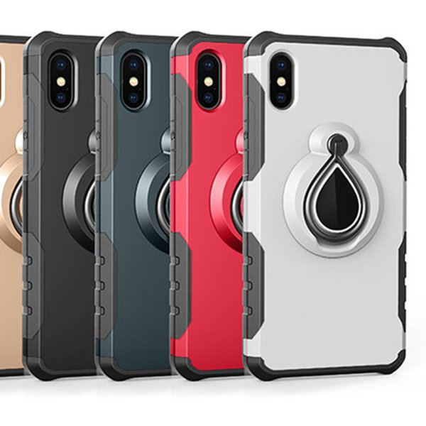 Case for iPhone X 8 7 Plus 6 6S Plus Magnetic Suction Car Mount Holder Armor PC + TPU Case gel Shockproof Stand Hybrid Skin