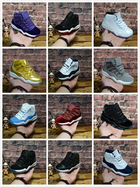 Yeni 11 Çocuk Basketbol Ayakkabıları GS çocuk Varisi Süet Bordo Getirdi 11 s Mavi Ay Günbatımı Erkek Kız Tasarımcı Sneakers Açık Koşu Ayakkabıları
