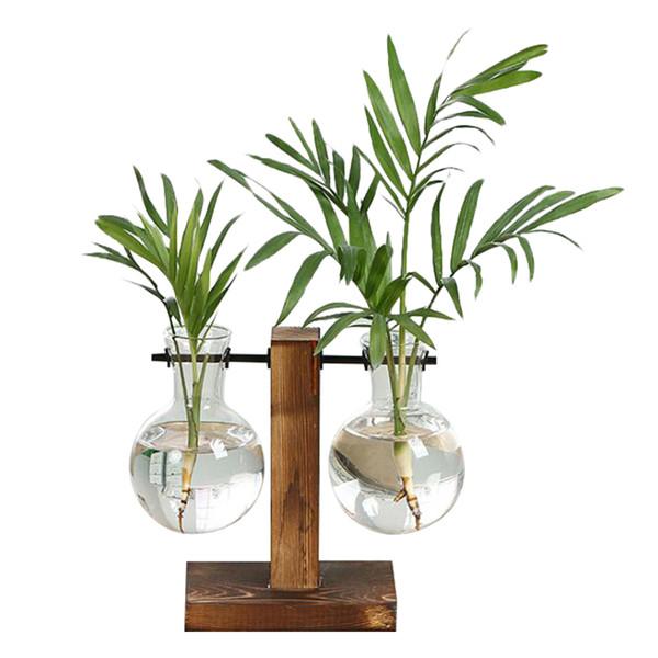 2019 Vintage Style Glass Desktop Pianta Bonsai Fiore Vaso di decorazione di Natale con legno L / T Vassoio di forma Home Decor Accessori