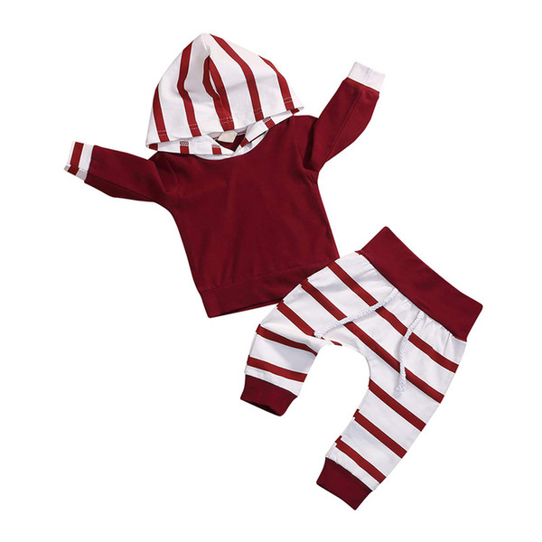 2pcs Toddler Infant Baby Boy Girl Striped Long Sleeve Hoodie Blouse Tops Pants Outfit Clothes Set (Red, 3-6 Months)