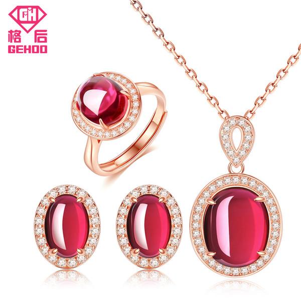 GEHOO Nueva Pretty Red Ruby Nupcial Conjunto de Joyas de Boda Mujeres CZ Piedra Preciosa Pavimentada 925 Pendientes de Plata Colgante Collar Anillo