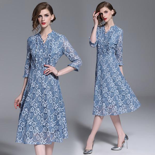 Faça o ponto Europa e os Estados Unidos roupas femininas vestido de comércio exterior indústria pesada posou vestido de renda cultivar um mora