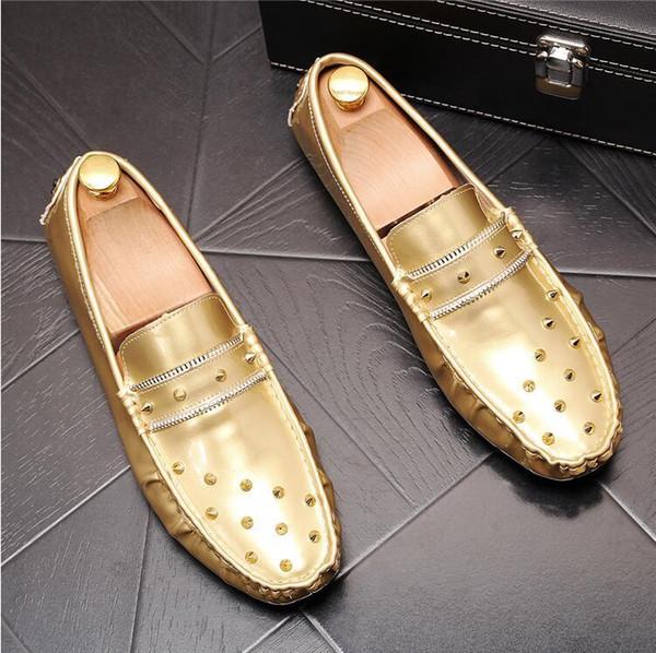 Summer men's foot peas shoes rivet personality Lok Fu Korean fashion casual small shoes soft bottom driving shoes
