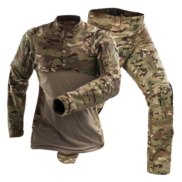 2019 Outdoor Tactique Militaire Combat Camping Randonnée Uniforme Entraînement Sportif Armée Combat Costume Camouflage Chasse Sets
