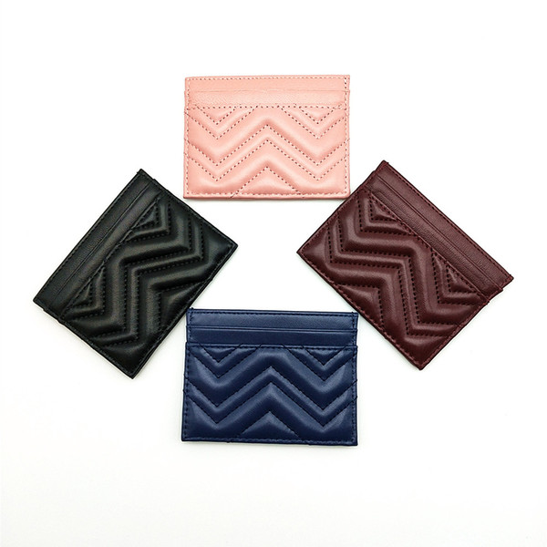 best selling Fashion High Quality Genuine Leather Wave Classic Men Women Zig Zag Credit Card Real Leather Bank Card Holder Mini Wallet With Box